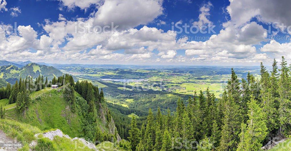 Panorama View Alpspitze Nesselwang stock photo