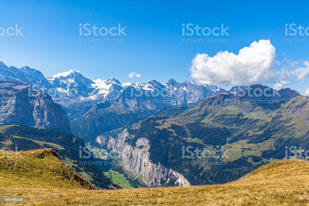 Panorama view at Mannlichen stock photo