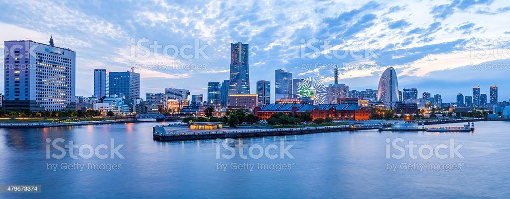 Panorama view at Yokohama minato mirai bayside in evening stock photo