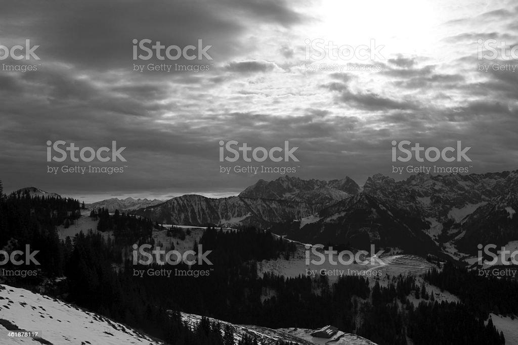 Panorama View black and white to Kaisergebirge stock photo