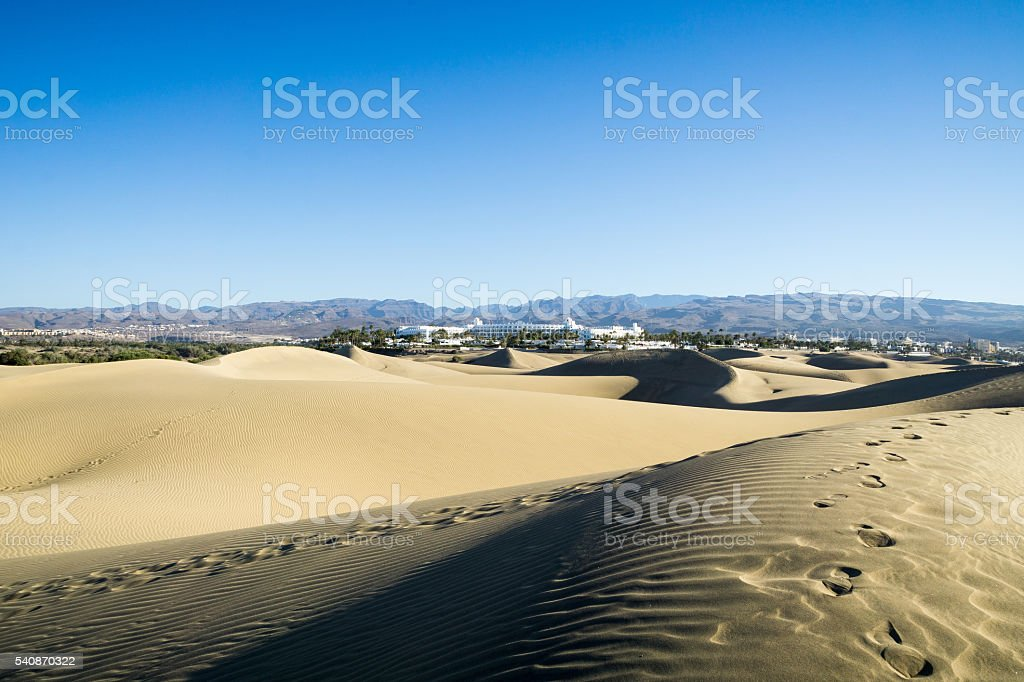 Panorama View from Maspalomas Dunes to the Mountains / Spain stock photo