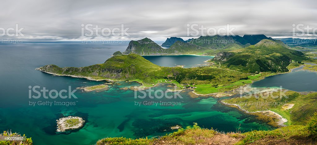 Panorama view from Offersoykammen, Lofoten islands, Norway stock photo