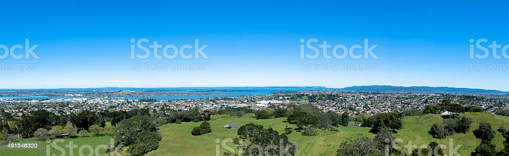 Panorama view from the One Tree Hill,Auckland New Zealand stock photo