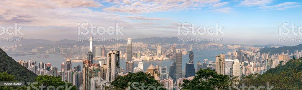 Panorama view from the peak : Hong Kong stock photo