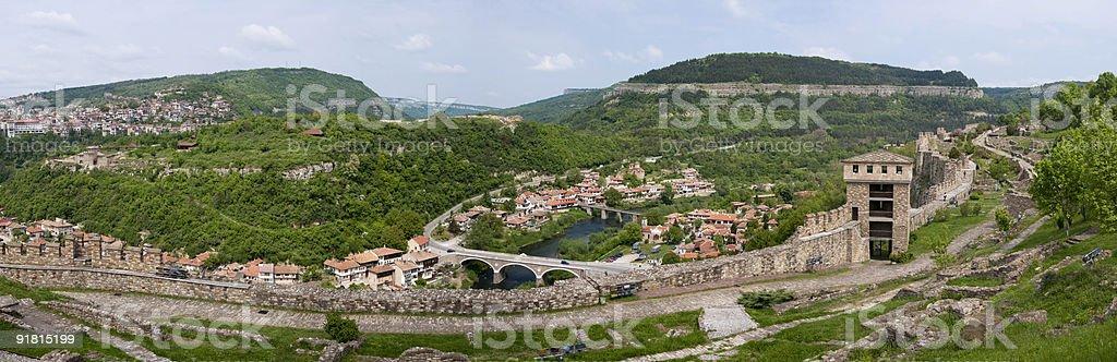 Panorama view from Veliko Tarnovo,Bulgaria stock photo