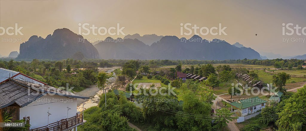 Panorama view in Vang Vieng, Loas stock photo