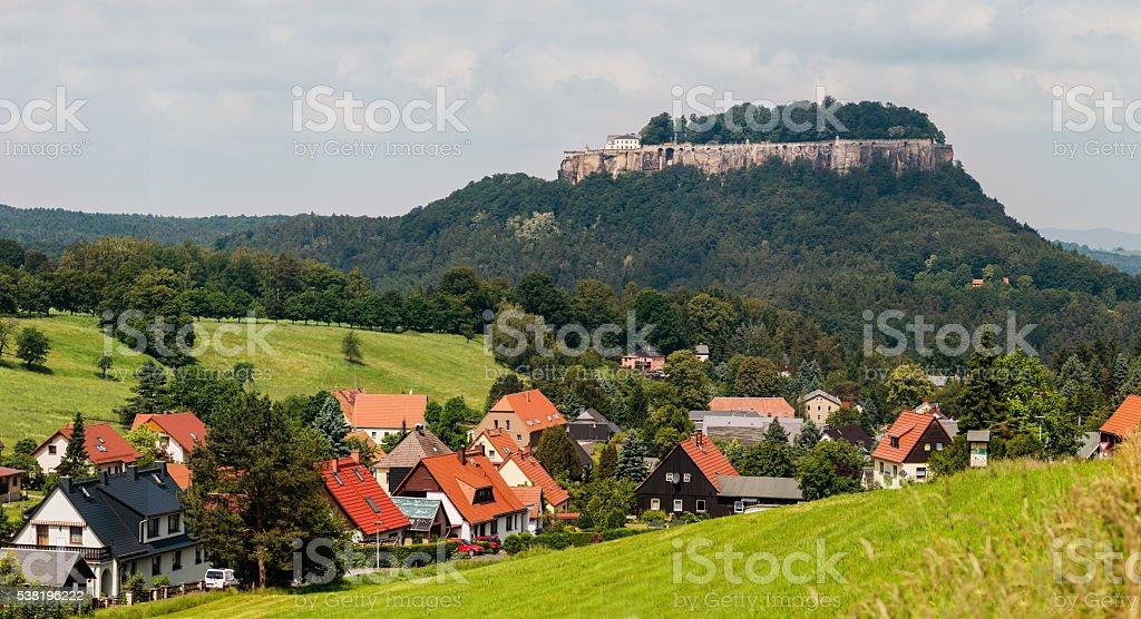 Panorama view Konigstein, Saxony, Germany. stock photo