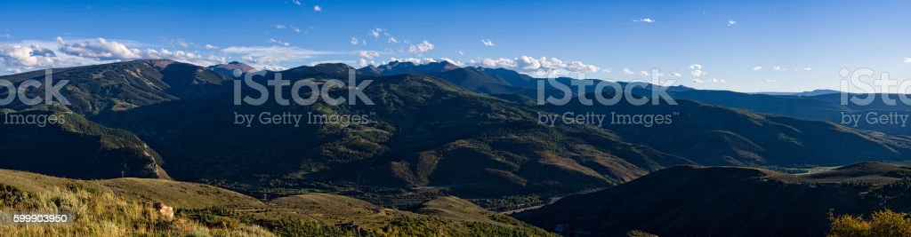 Panorama View Looking North to South Avon Beaver Creek Colorado stock photo