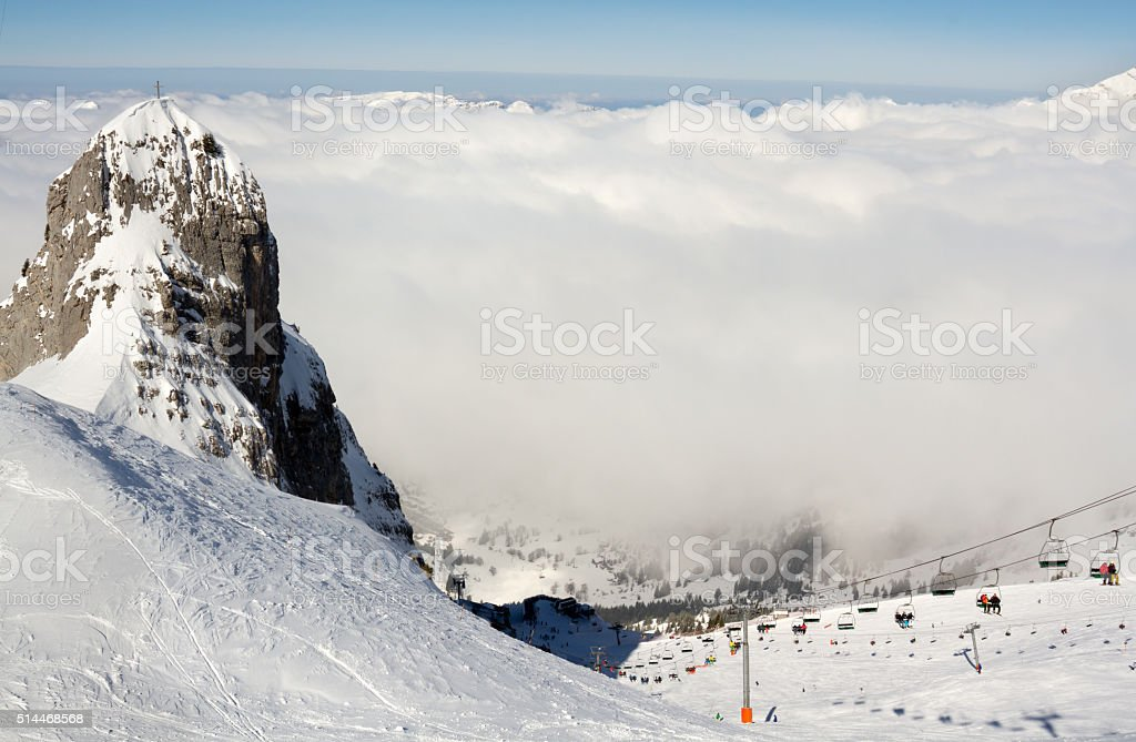 Panorama view of a ski resort in the French Alps stock photo