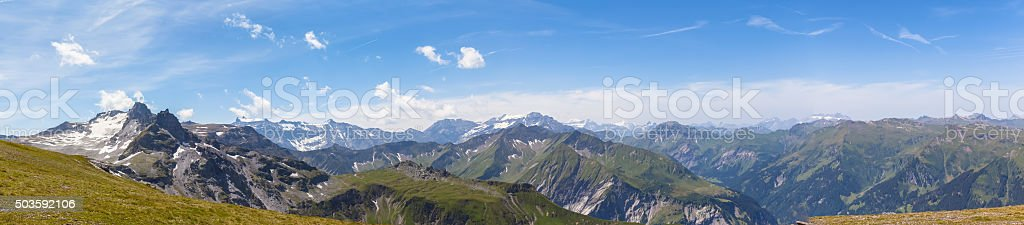 Panorama view of Alps in eastern Switzerland stock photo