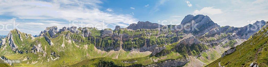 Panorama view of Alpstein massif stock photo