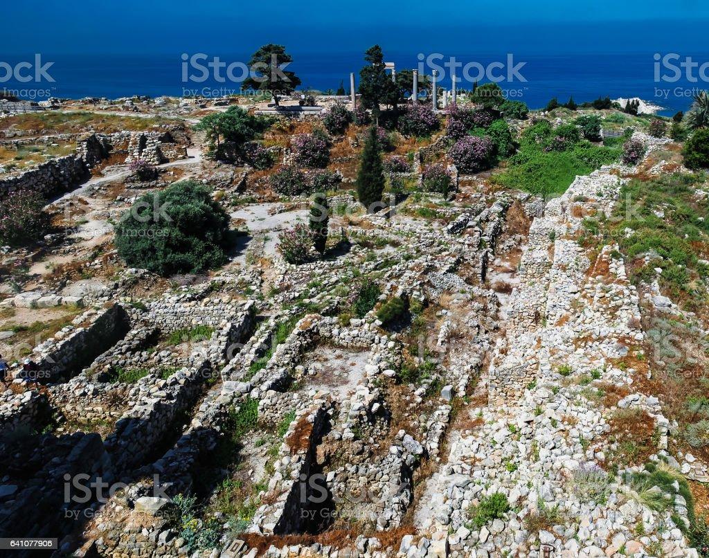 Panorama view of Ancient Byblos ruin, Jubayl Lebanon stock photo