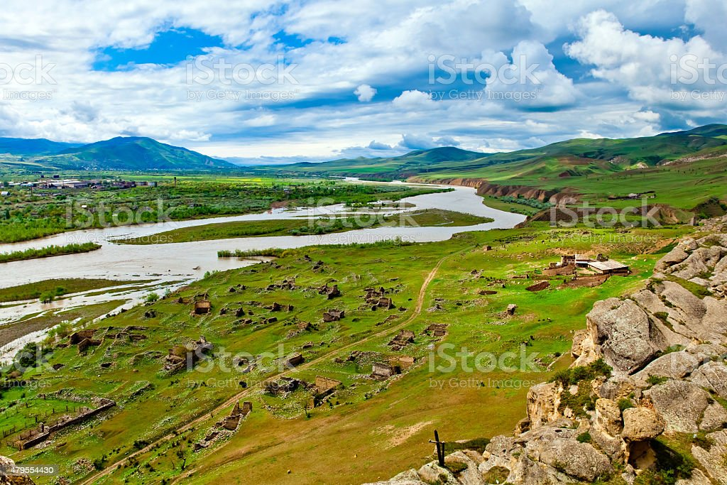 Panorama view of  ancient rock town Uplistsikhe stock photo
