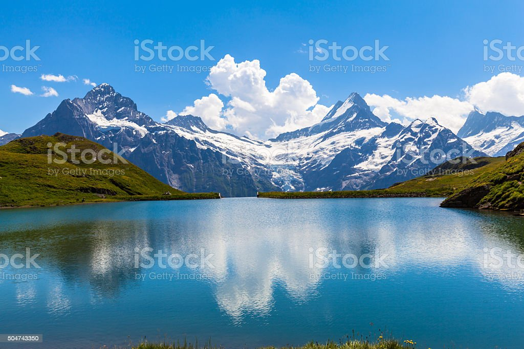 Panorama view of Bachalpsee and the alps stock photo