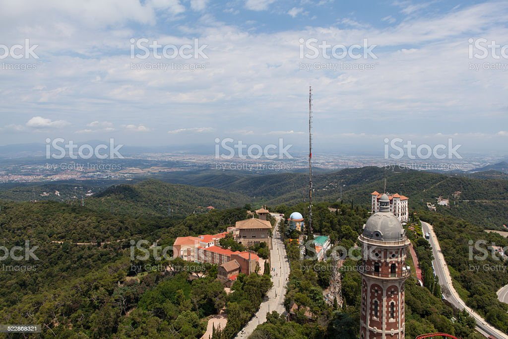 Panorama view of Barcelona from Mount Tibidabo stock photo