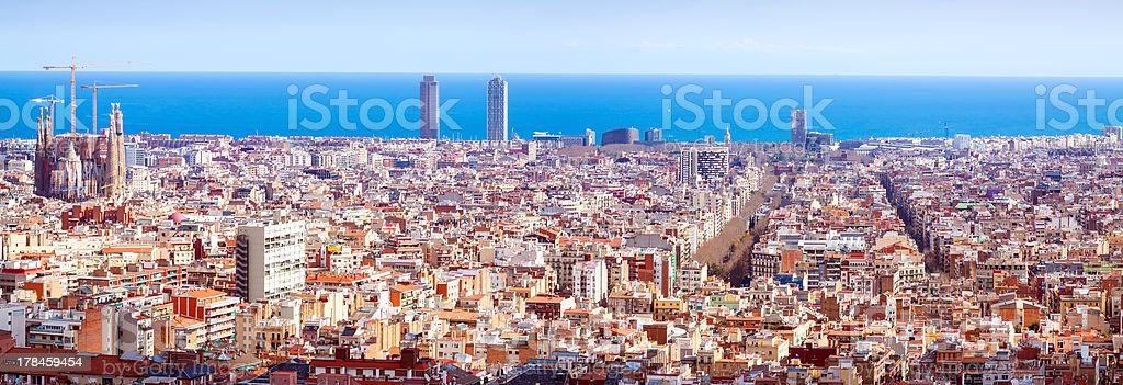Panorama view of Barcelona  in sunny day. Spain stock photo