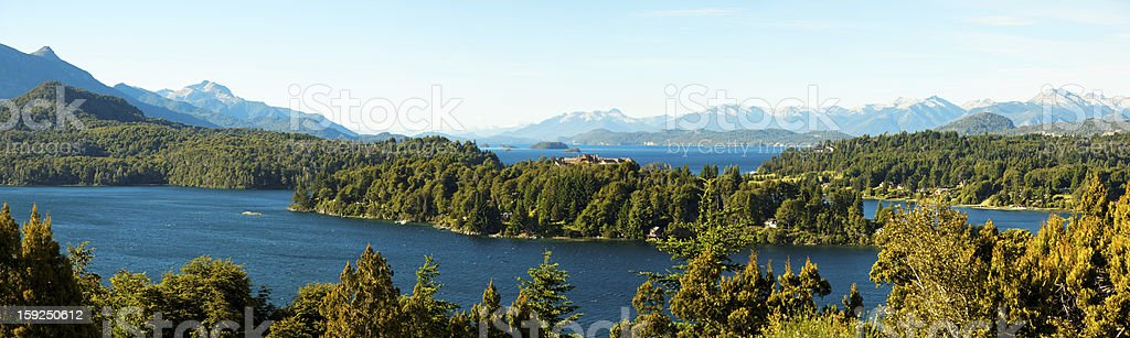 Panorama view of Bariloche and its lake, Argentina stock photo