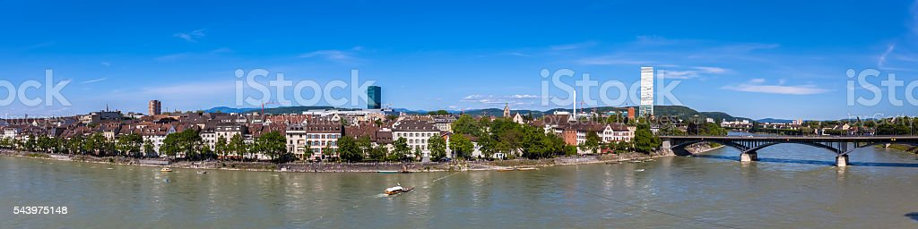Panorama view of Basel city and Rhine river. stock photo
