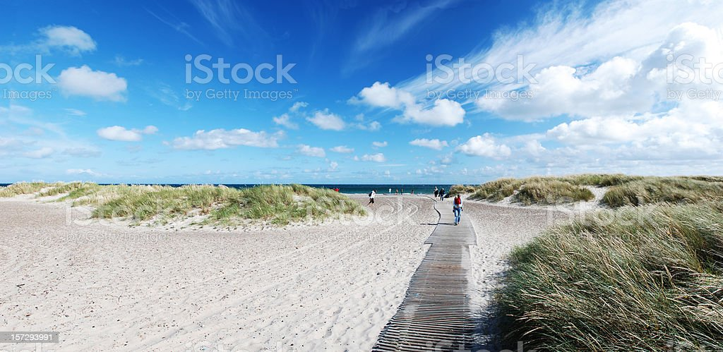 Panorama view of beach with boardwalk in Skagen denmark (XL) royalty-free stock photo