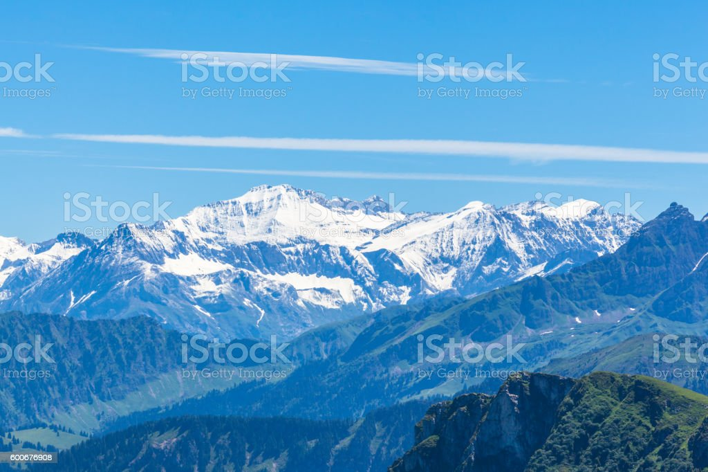 Panorama view of Bernese Alps from Rochers-de-Naye stock photo