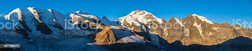 Panorama view of Bernina massiv in morning sunshine stock photo