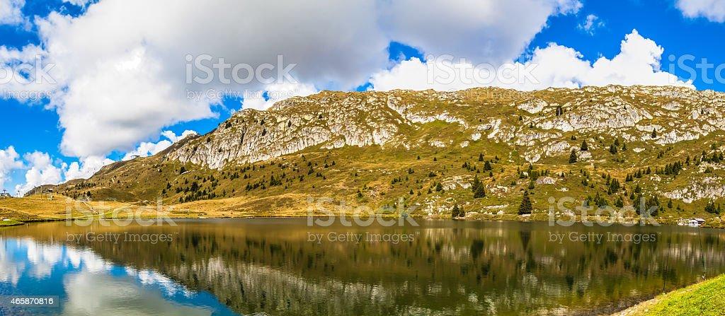 Panorama view of  Bettmersee (Lake) in Valais stock photo