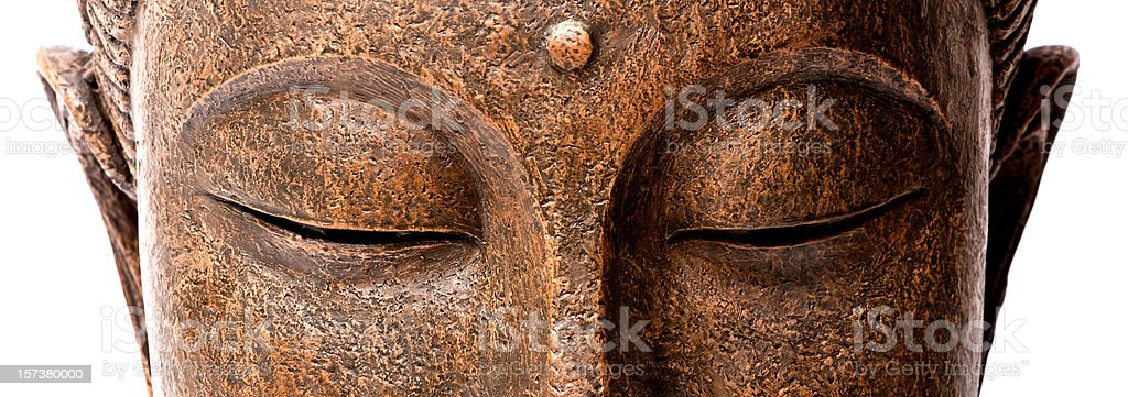 Panorama view of Buddha's face stock photo