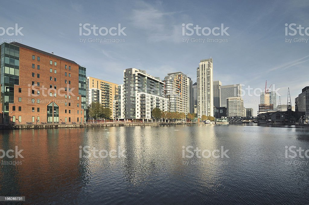 Panorama view of Canary Wharf royalty-free stock photo