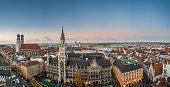 Panorama view of Christmas market at Marienplatz, Munich, Germany