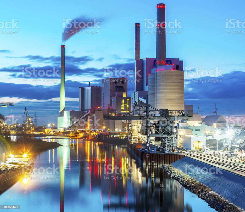 Panorama View of Coal Power Plant at Night stock photo