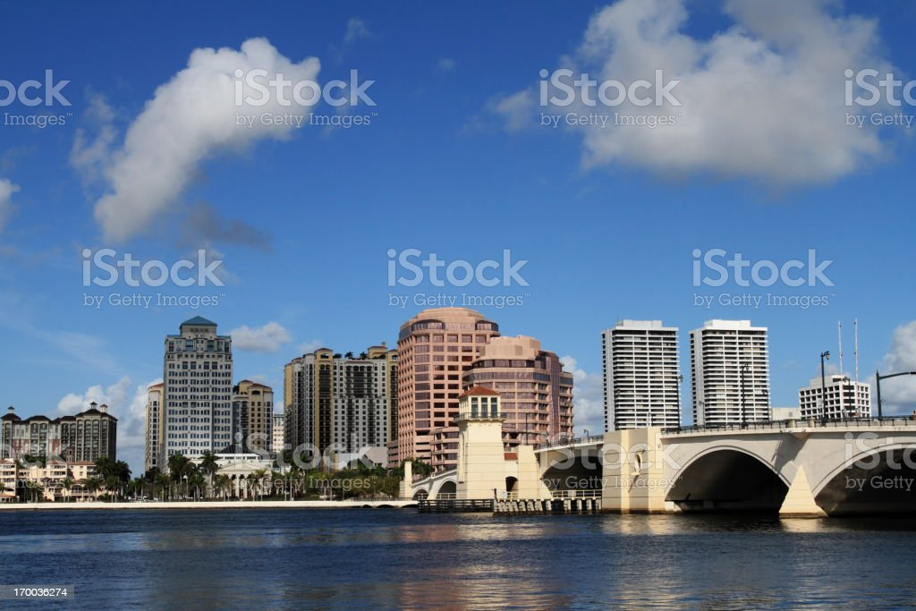 Panorama view of downtown West Palm Beach on a cloudy day stock photo
