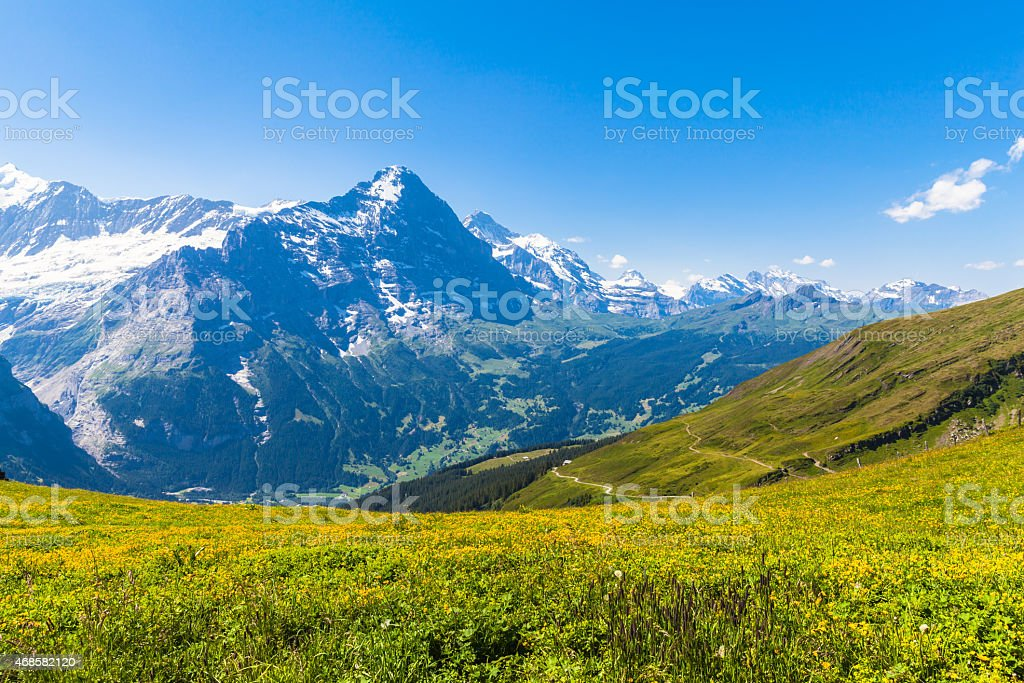 Panorama view of Eiger and some others peaks stock photo