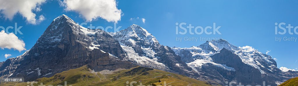 Panorama view of Eiger, Monch and Jungfrau stock photo