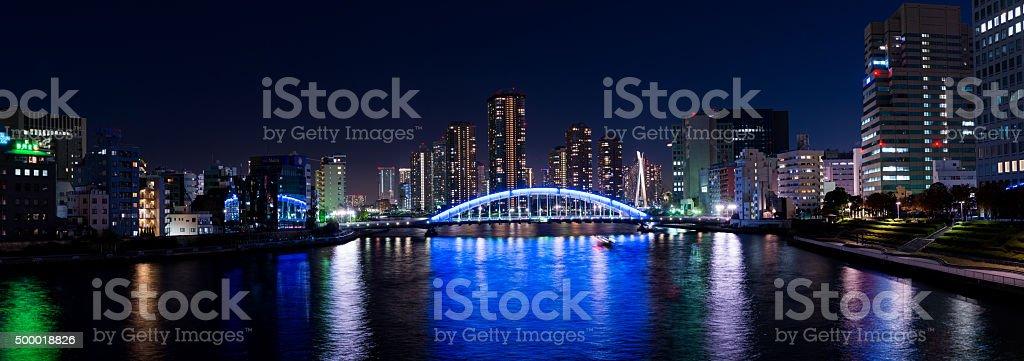 Panorama view of Eitai Bashi bridge at Tokyo stock photo