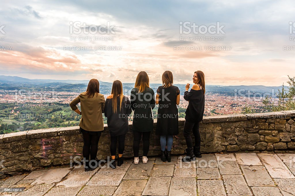 panorama view of Florence from Fiesole Florence. stock photo