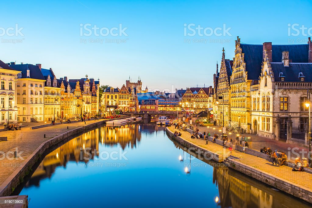 Panorama view of Ghent canal in Belgium stock photo