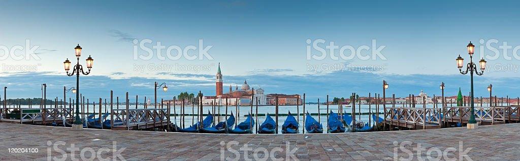 Panorama view of gondolas in San Giorgio, Venice stock photo