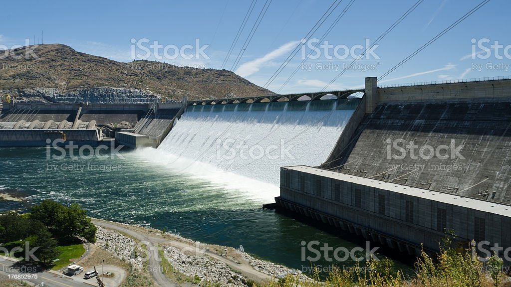 Panorama view of grand coulee dam stock photo
