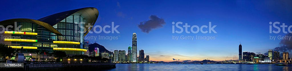 Panorama view of Hong Kong Skyline (Convention And Exhibition Center) royalty-free stock photo