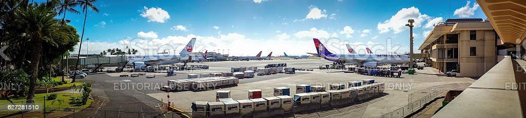 Panorama view of Honolulu International Airport stock photo