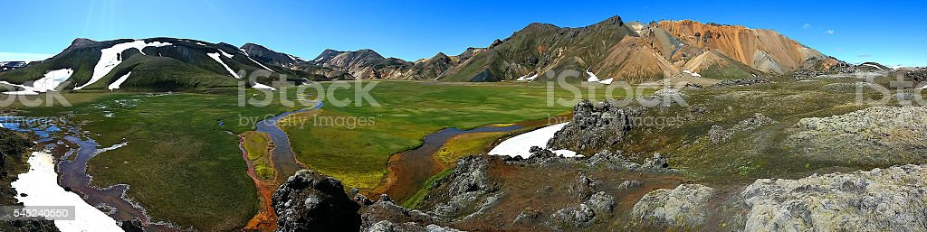Panorama view of Iceland mountains stock photo