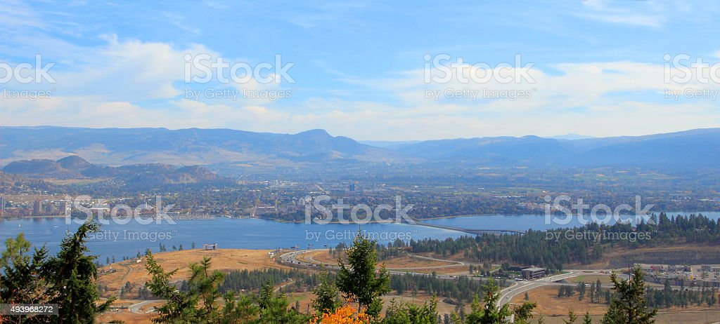 Panorama View Of Kelowna From High Up stock photo