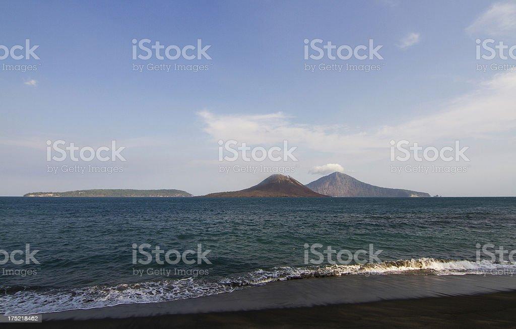 Panorama view of Krakatau volcano stock photo