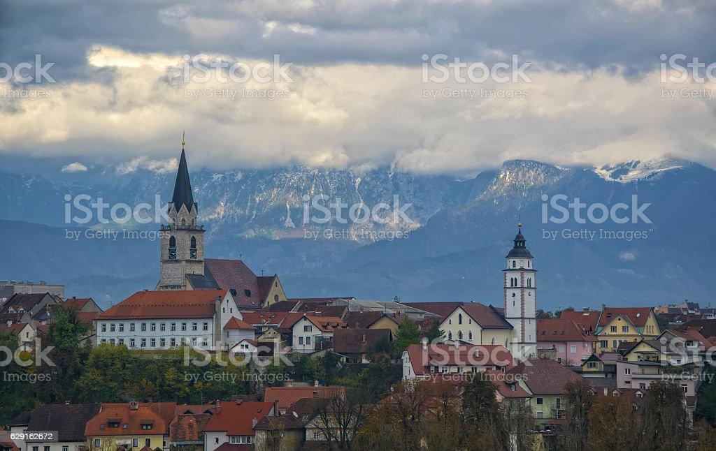 Panorama view of Kranj, Slovenia stock photo