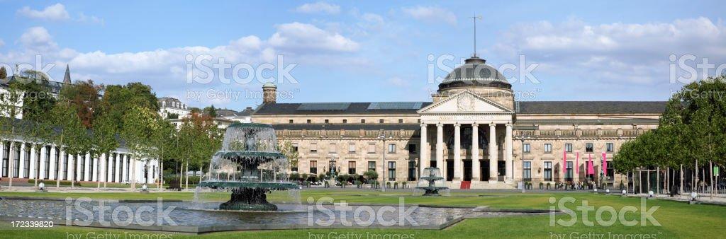 Panorama view of Kurhaus and casino in Wiesbaden, Germany stock photo