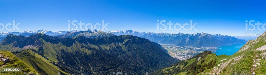Panorama view of Lake Geneva from Rochers-de-Naye stock photo