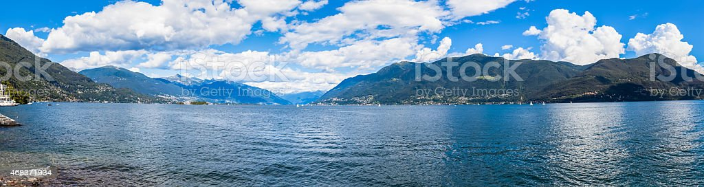 Panorama view of Lake Maggiore stock photo