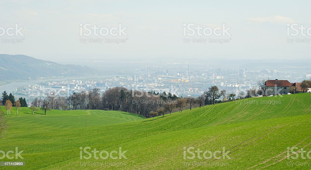 Panorama View of Linz stock photo