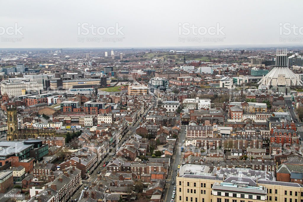 Panorama view of Liverpool stock photo