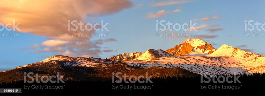 Panorama View of Longs Peak at sunrise stock photo
